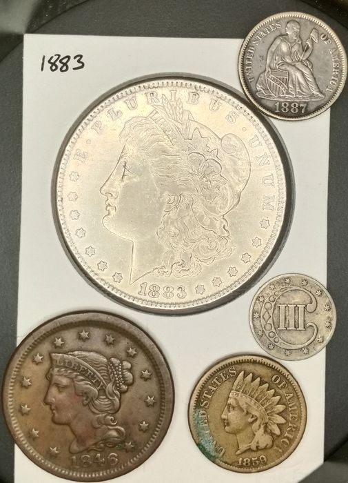 USA. Cent + 3 Cents + 10 Cents + Dollar 1846/1887 (5 pieces)