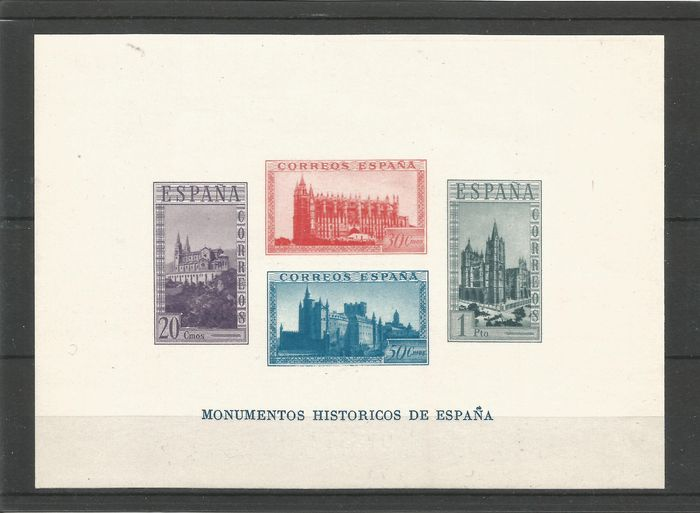 Spain 1938/1938 - Historic monuments miniature sheet, imperforated, mint - Edifil 848