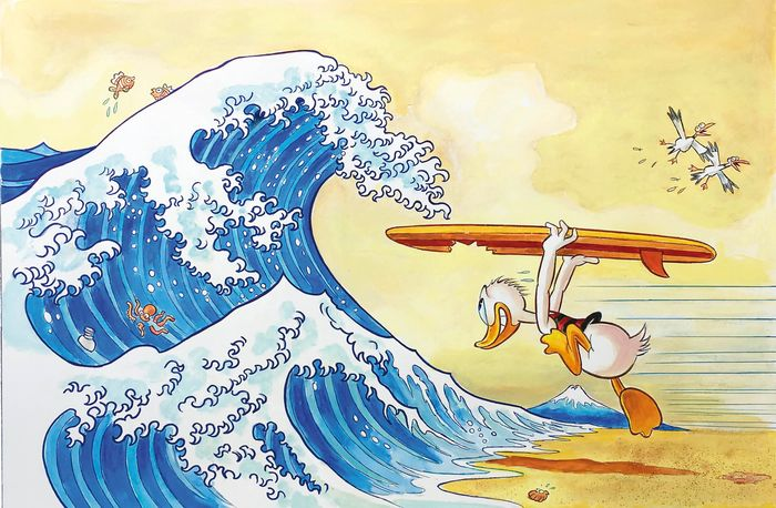 Donald Duck Inspired By The Great Wave off Kanagawa - Giclée Signed By Tony Fernandez - Canvas - EO