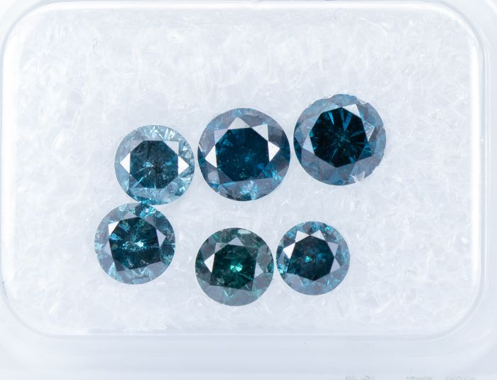 6 pcs Diamantes - 1.73 ct - Fancy DEEP Blue Color tratado - SI2-I2   *NO RESERVE*