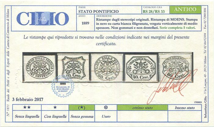 Italian Ancient States - Papal State 1889 - Moens, 6 reprints of the period on white paper. - CEI RS28/RS33