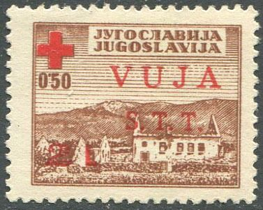 Triëst - Zone B 1948 - Red Cross L. 2 on 0.50 dinars with red instead of azure overprint. - Sassone N. 4a