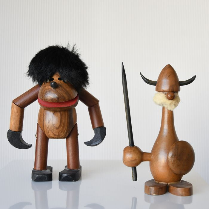 Figure, Monkey, Viking (2) - Wood