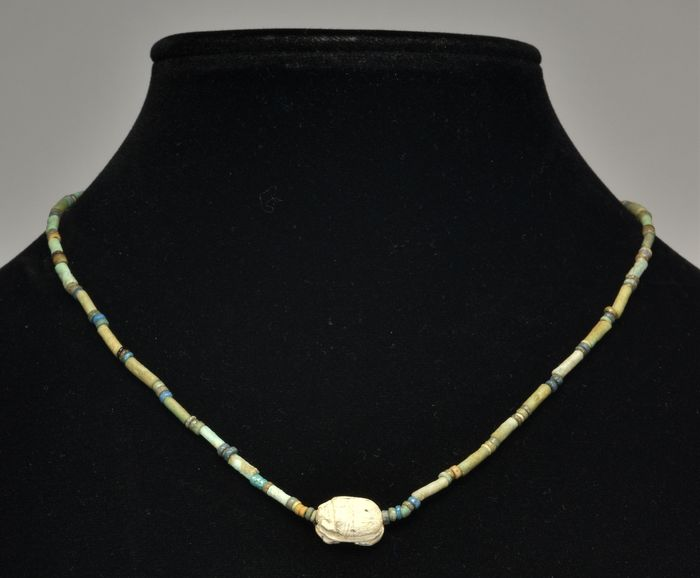 Ancient Egyptian Faience Beaded Necklace with Scarab