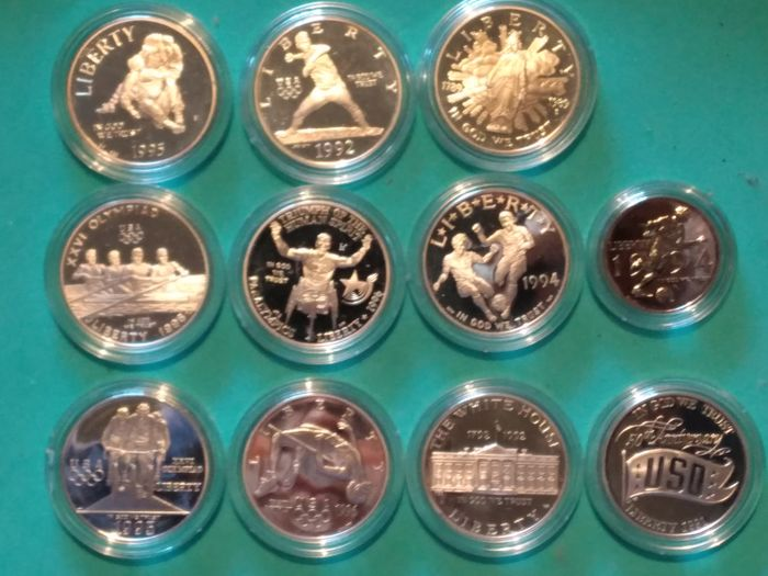 USA. 1/2 Dollar + Dollars 1989/1996 Commemorative (11 pieces) with 10x silver