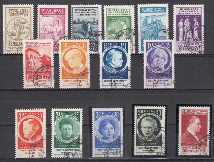 Turkey 1935 - International Suffragette Congress used set - Unificato 857/871