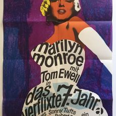 The Seven Year Itch (1955) - Marilyn Monroe - Cartaz, Original German Cinema 1966 re-release - vintage