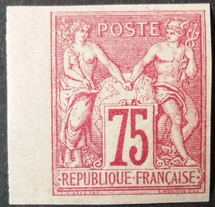 Francia 1876 - Sage, Type I, N under B, 75 centimes carmine, imperforate. - Yvert 71a