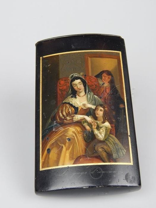"""A cigar case painted with decoration after Johan Roos - """"Le Gage d'Amour"""" - Lacquer, Papier-mache - Early 19th century"""