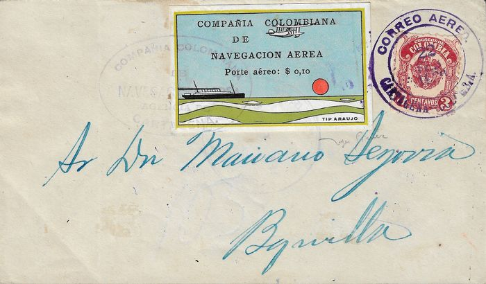 Kolumbien 1920 - Colombian Air Navigation Company, 10 cents on letter.