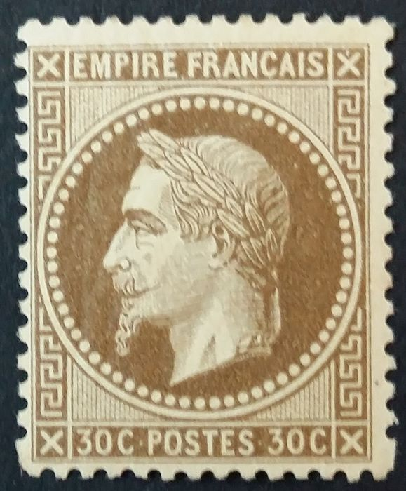 Francia 1867 - Napoleon III lauré, 30 centimes brown. - Yvert 30
