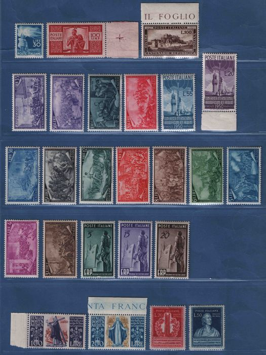 Italië Republiek 1945/1949 - Lot of complete sets of the period - total 24 values