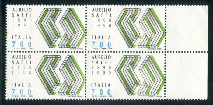 Italië Republiek 1990 - Saffi green, block of four on the margin - Sassone N. 1931a