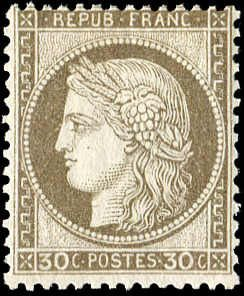 Francia 1872 - Ceres, perforate, 30 centimes brown. - Yvert 56