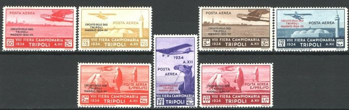 """Tripolitanien 1934 - Airmail """"Circuito delle Oasi"""" complete set of 7 values, mint and intact - Sassone N. A34/40  cert. Diena"""