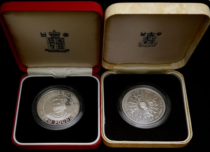 Great Britain, Guernsey (Crown dependency). 25 Pence 1980 + 2 Pounds 1991 Proof Commemorative (2 coins)