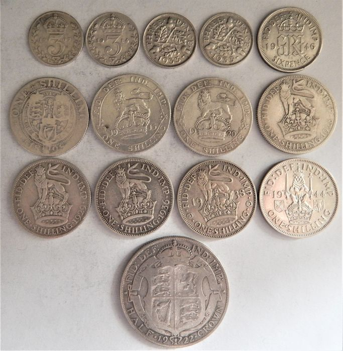 United Kingdom. 3 & 6 Pence + Shilling + 1/2 Crown 1898/1944 (14 pieces)