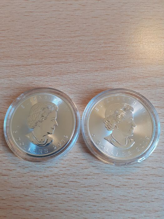 Canada. 5 Dollars 2019 Maple Leaf - 2 x 1 Oz