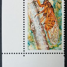 Francia 1977 - The red cicada, variety with missing inscriptions. - Yvert 1846b