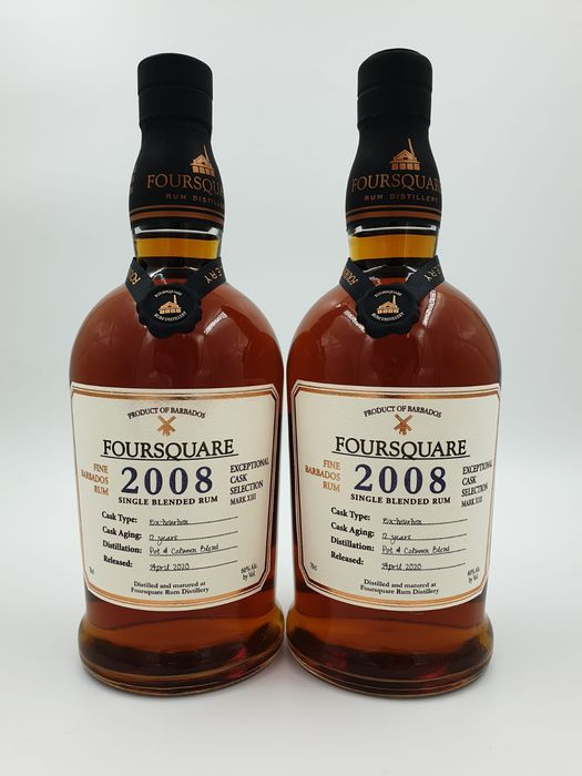 Foursquare 2008 12 years old - Mark XIII - b. April 2020 - 70cl - 2 bottles