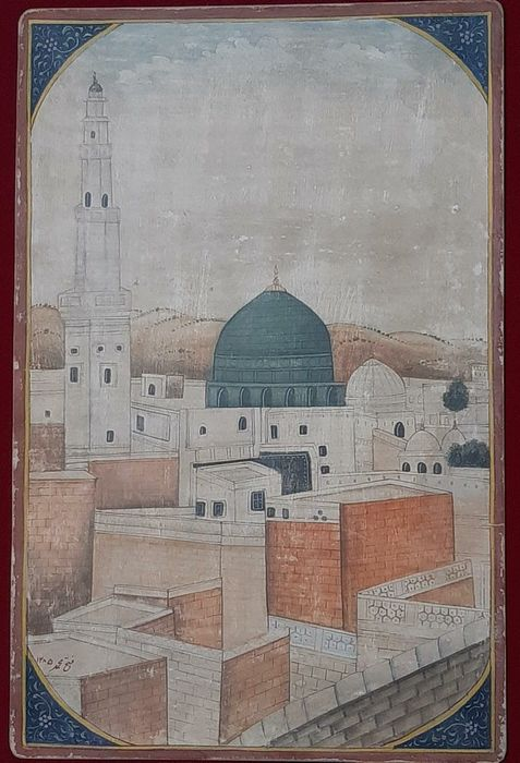 Islamitische handgemaakte schilderij Mekka medina serie - papier wasli - Artist : Fathe Mohammad - antique islamic handmade painting on paper wasli depecting holy shrine of medina. - India - 19e eeuw
