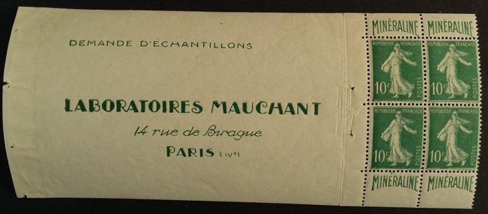 Francia 1924/26 - Minéraline, 10 centimes green, block of 4 from a booklet. - Yvert 188A
