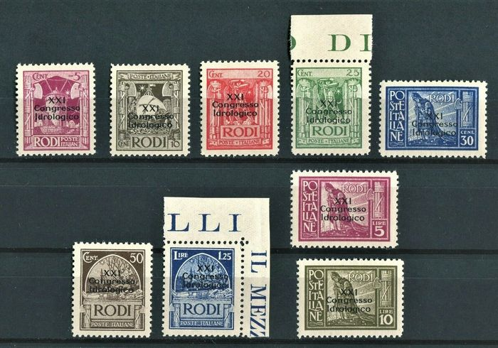 """Egeïsche 1930 - """"Congresso Idrologico"""" complete set of 9 values, mint and intact - Sassone N. 12/20 - cert. Oro Raybaudi"""