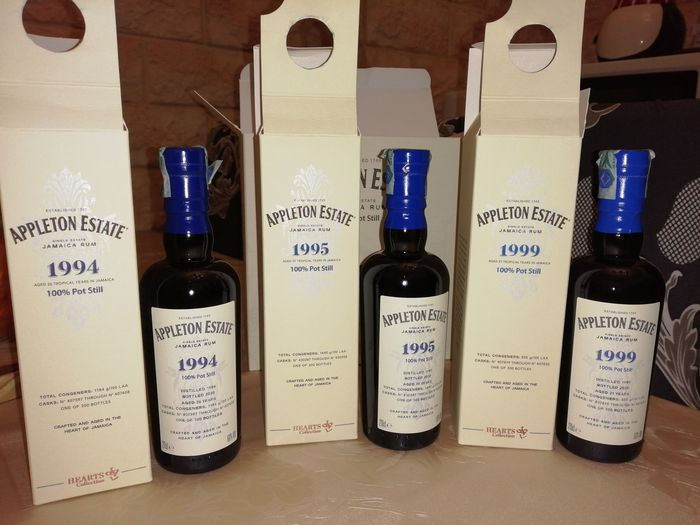 Appleton Velier - Hearts Collection 1994-1995-1999 - b. 2020 - 20 cl - 3 botellas