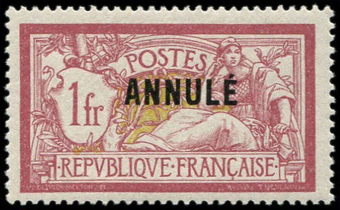 """Francia 1911 - Merson, 40 centimes red and blue, single """"ANNULE"""" overprint. - Yvert Cours d'instruction 119-CI 1"""
