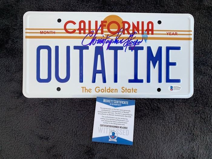 """Back to the Future - Christopher Lloyd (""""Doc"""" Brown) -  Signed DeLorean License Plate - Handtekening, with Coa Beckett"""