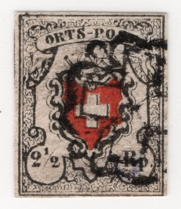 """Zwitserland 1850 - So-called """"Post Locale"""" (Local Post) with black Zurich rosette - Zumstein Nr. 13I: Michel 5Ia"""