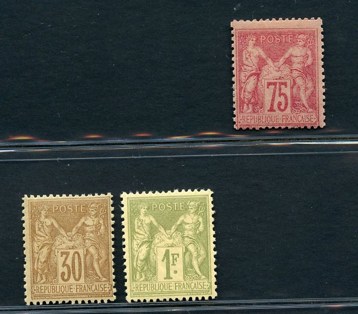 Frankrijk 1876 - Peace and Trade - 30 c. 75 c. and 1 Fr. - 2nd type - Yvert N. 80 - 81 - 82