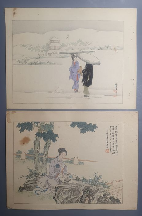 Xilografia originale (2) - Carta - Kamisaka Sekka (1866-1942) and Ikeda Keisen (1863-1931) - 'Walk in the snow with a puppy' and 'Chinese beauty writing poems on leaves' - Giappone - ca 1890s