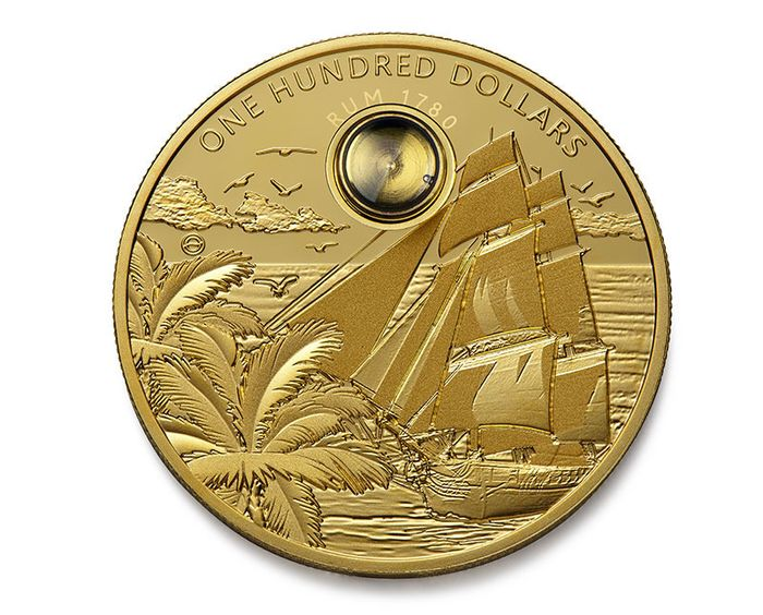 Barbados. 100 Dollars Rum Coin. High Proof. 2oz Gold