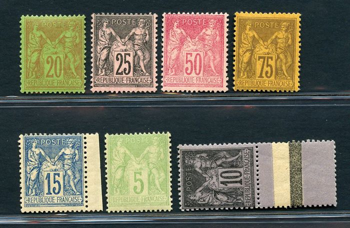 Frankreich 1884/1898 - Peace and Trade - several values of the 2nd type - Yvert NN. 96/99 - 101 - 103