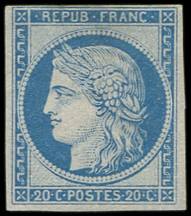 France - Colonies (general issues) - 20 centimes blue, thin margin (intact) at the top. VF. - Yvert 12