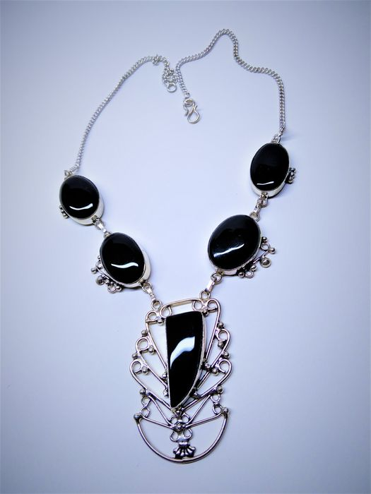 Beautiful Black Obsidian Silver Necklace - 47 g