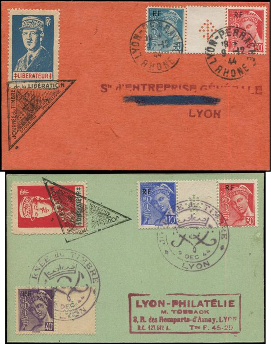 Frankreich - and 6: the 2 values on 2 cards, each with 2 t. Mercury and stamped Cross of Lorraine overprint. VF. - Maury 5
