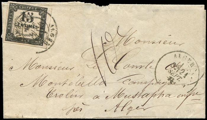 Frankreich - 15 centimes black, lithographed, cancelled, date stamp T17 ALGER 21/9/71 on  LSC with Taxe 10 - Yvert 4