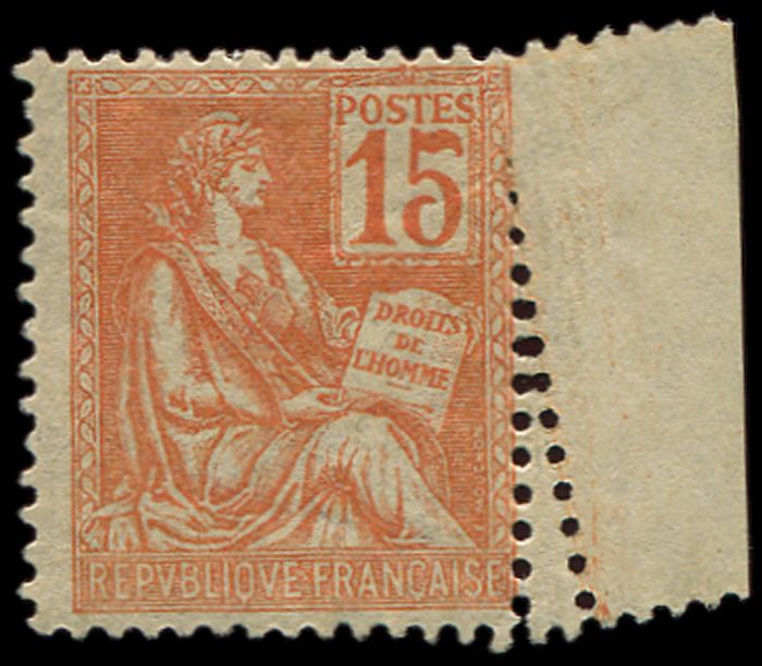 France 1900 - Mouchon,  15 centimes orange, sheet margin,  perforation variety by folding. VF. C - Yvert 117