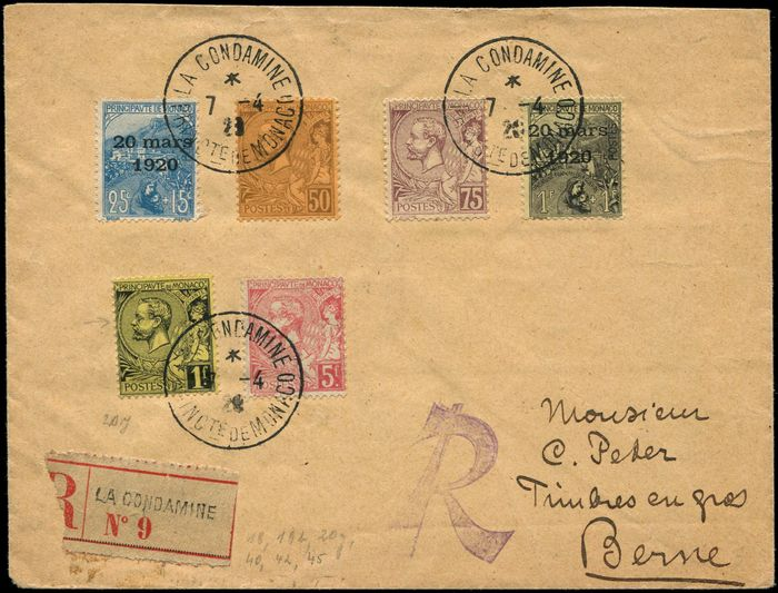 Monaco - 40 and 42, cancelled, date stamp LA CONDAMINE 7/4/20 on   cover   registered mail, arriving in - Yvert 18/21