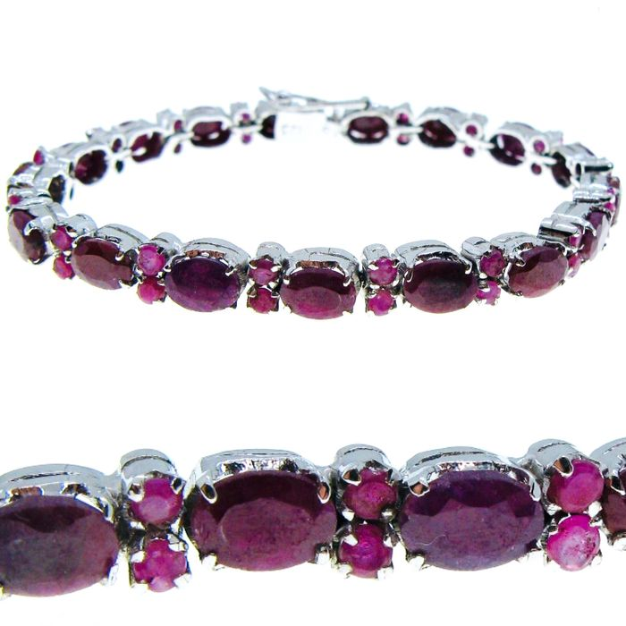 July Birthstone-925 Solid Silver Tennis Bracelet with 34 Ruby ct 16.15 tot - 22 g