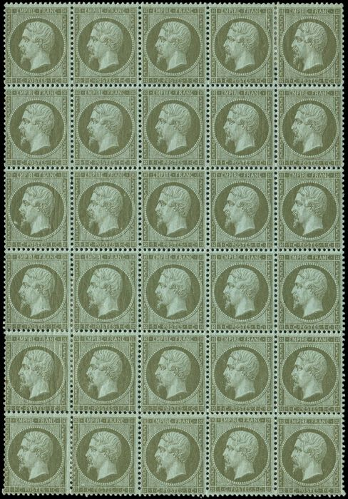 Frankreich 1870 - 1 centime olive,  block of 30, in part consolidated by the ch.  9 stamps are *, fresh and VF. - Yvert 19