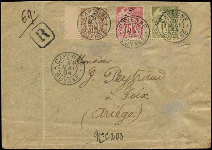 Französisch-Guayana - 27 and 28, 30 centimes,  75 centimes and 1 franc, cancelled date stamp CAYENNE 9/5/94 on  cover - Yvert 24