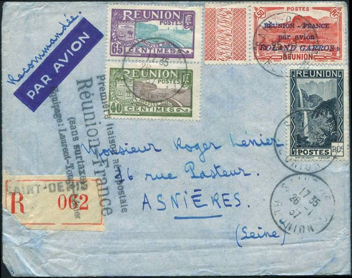 RC) Gewerkschaft - 50 centimes red,  Roland Garros + Poste NB091. 112 and 131, cancelled  26/1/37 on  cover - Yvert 1