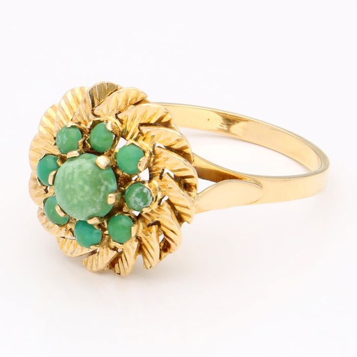 18 carats Or - Bague - 0,62 ct turquoise