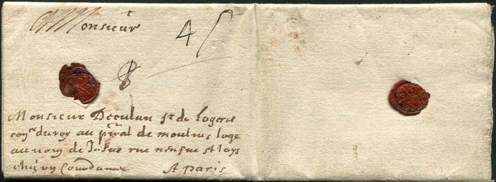 """Frankreich - LAC from MOULINS 6/10/1655 bound for Paris. """"3"""" cancelled and rectified by """"4s"""" RR. VVF."""