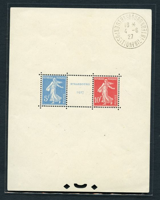 Frankreich 1927 - Strasbourg souvenir sheet - with cancellation of the exhibition - Yvert N. BF 2