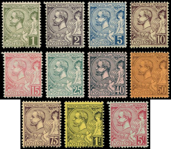 Monaco - Albert I,  special edition, fine printing, for the World Fair of 1900, the series. - Yvert 11/21