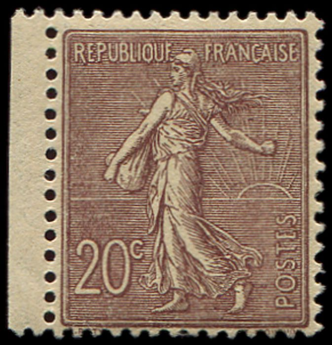 Frankreich - Semeuse with lined background. 20 cts dark lilac-brown, well centred and VF - Yvert 131a